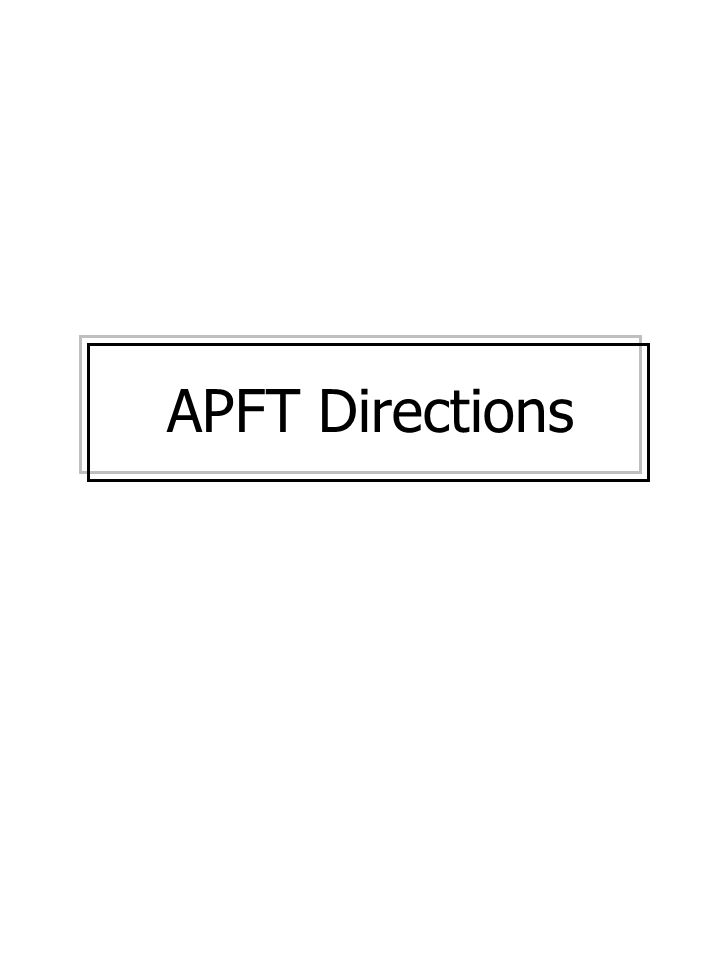 APFT Directions