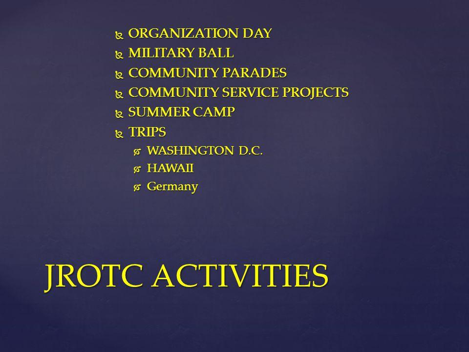 JROTC ACTIVITIES ORGANIZATION DAY MILITARY BALL COMMUNITY PARADES