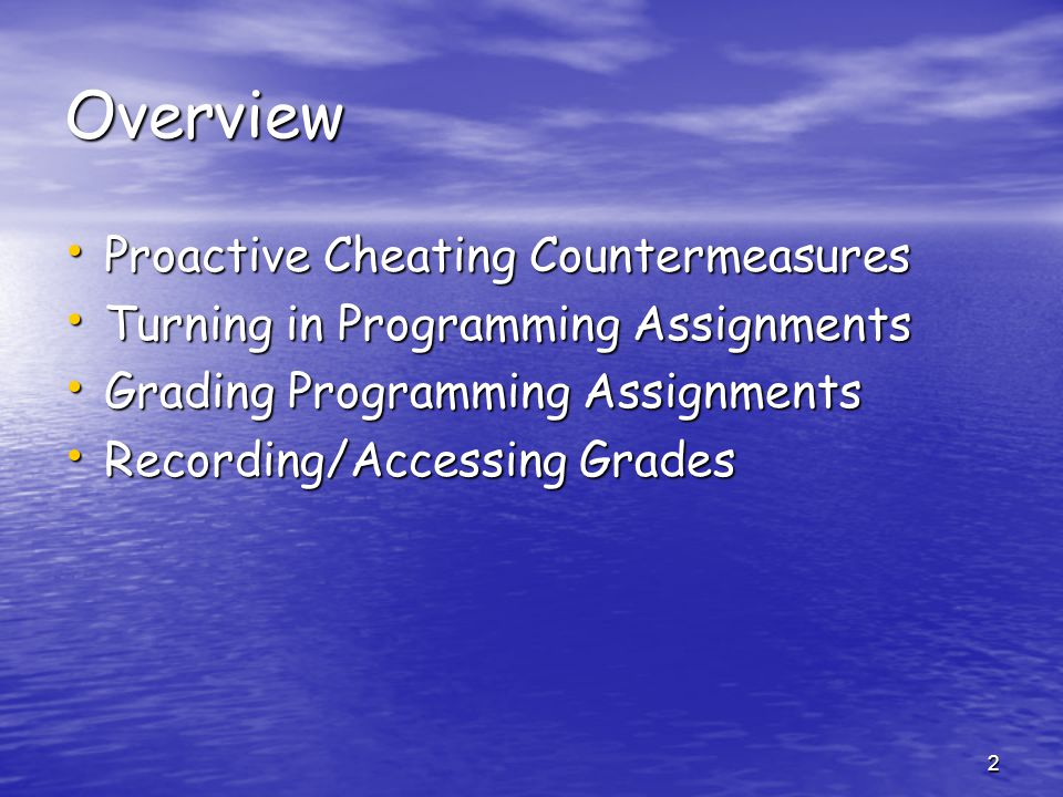 Overview Proactive Cheating Countermeasures