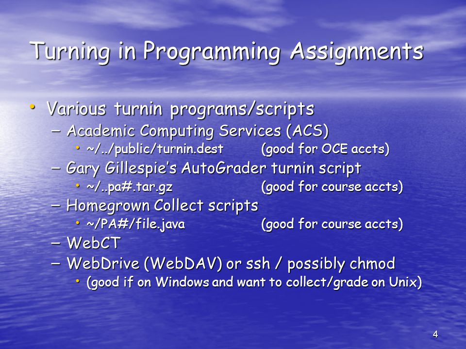 Turning in Programming Assignments