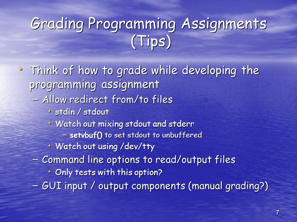 Grading Programming Assignments (Tips)