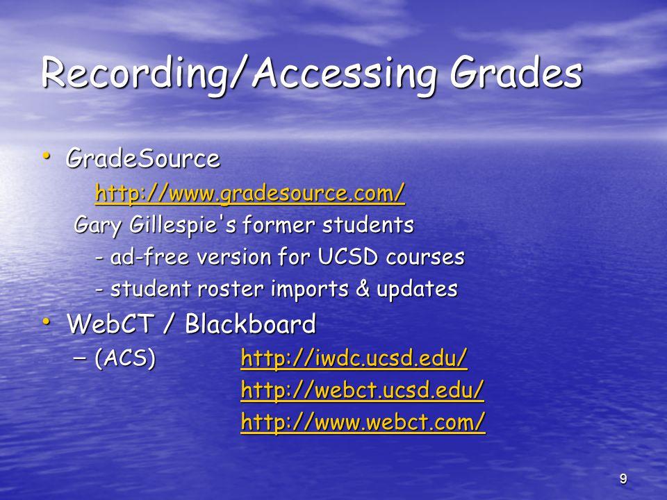 Recording/Accessing Grades