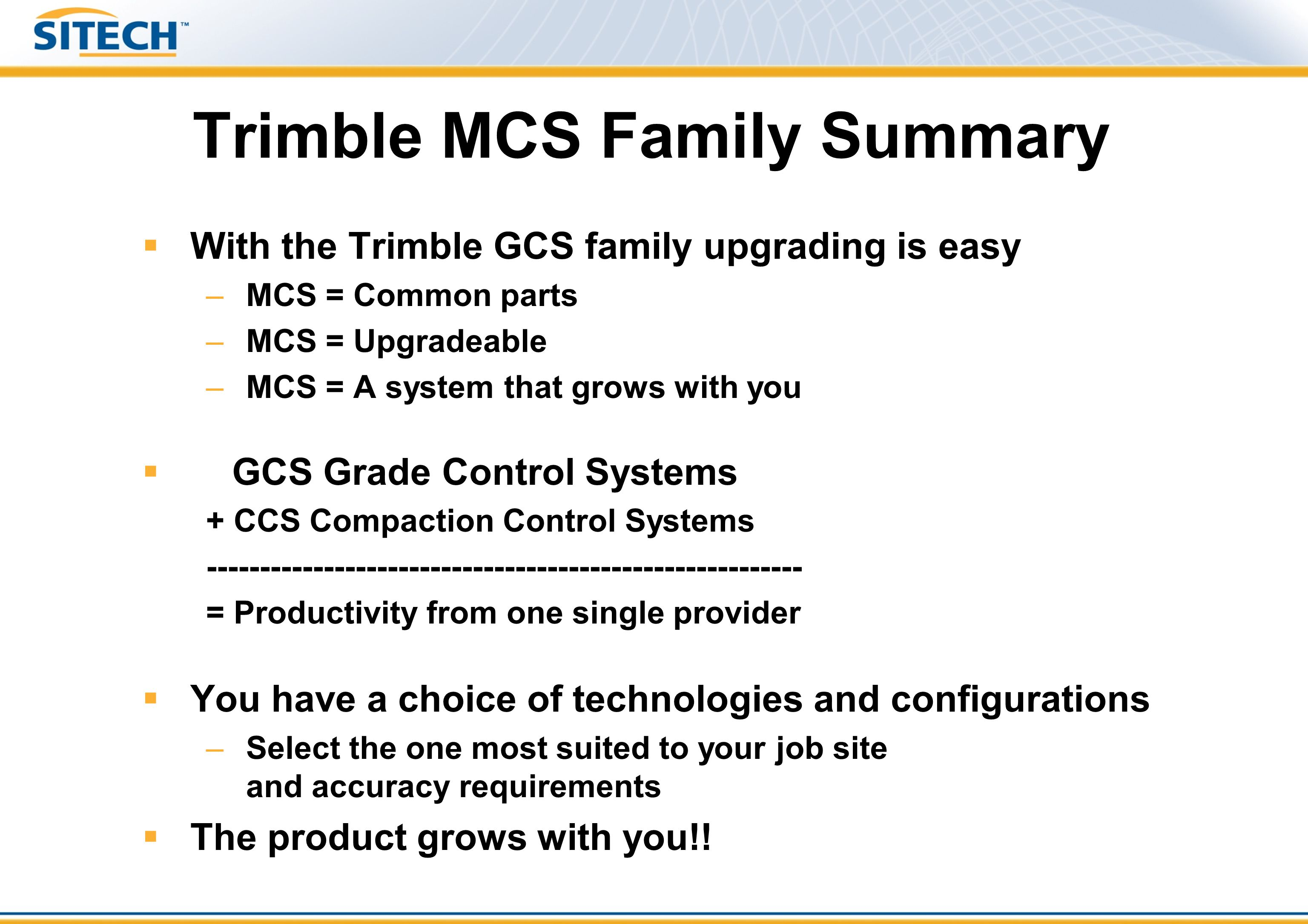 Trimble MCS Family Summary