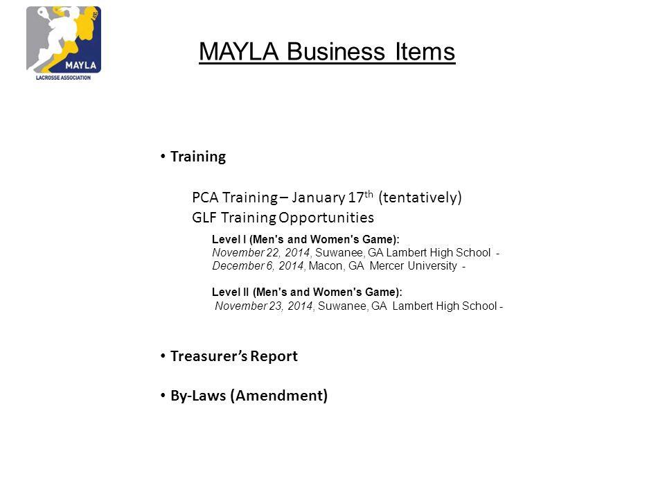 MAYLA Business Items • Training