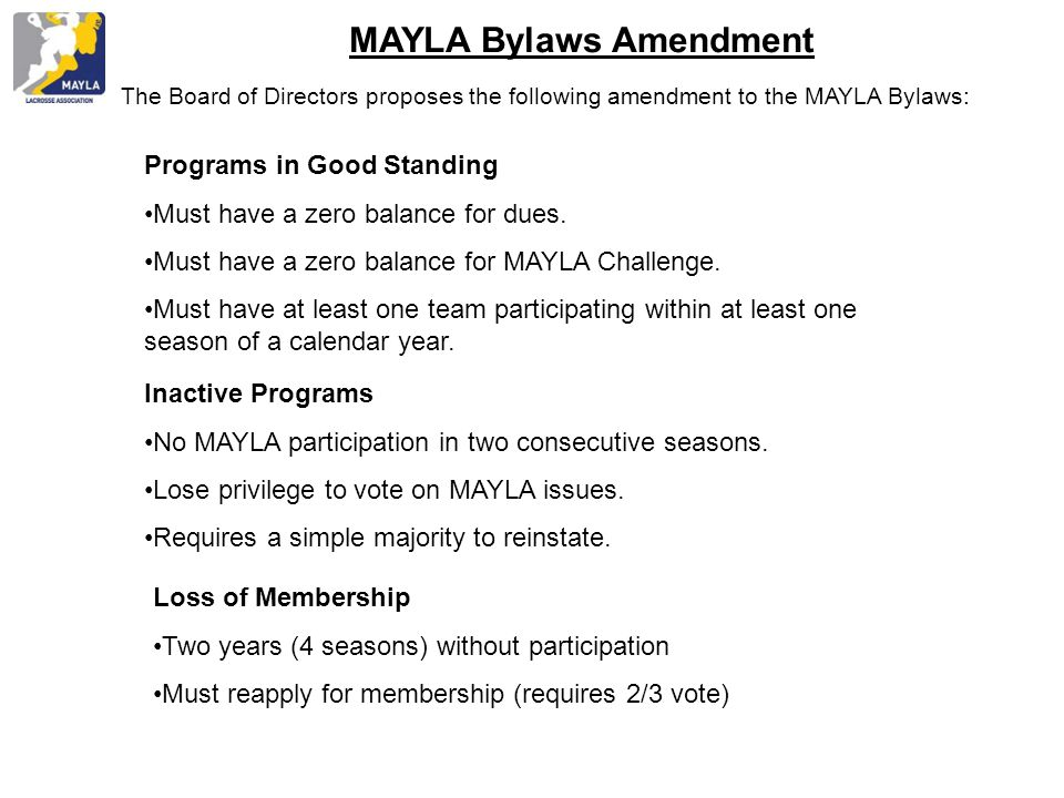 MAYLA Bylaws Amendment