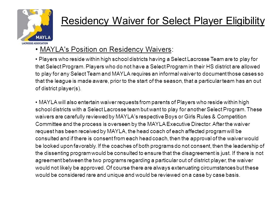 Residency Waiver for Select Player Eligibility