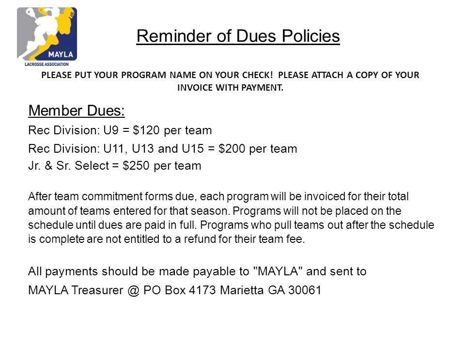 Reminder of Dues Policies
