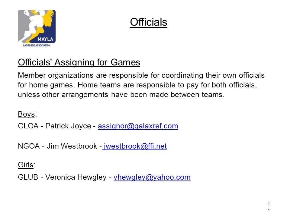 Officials Officials Assigning for Games