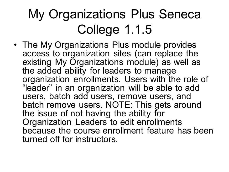 My Organizations Plus Seneca College 1.1.5