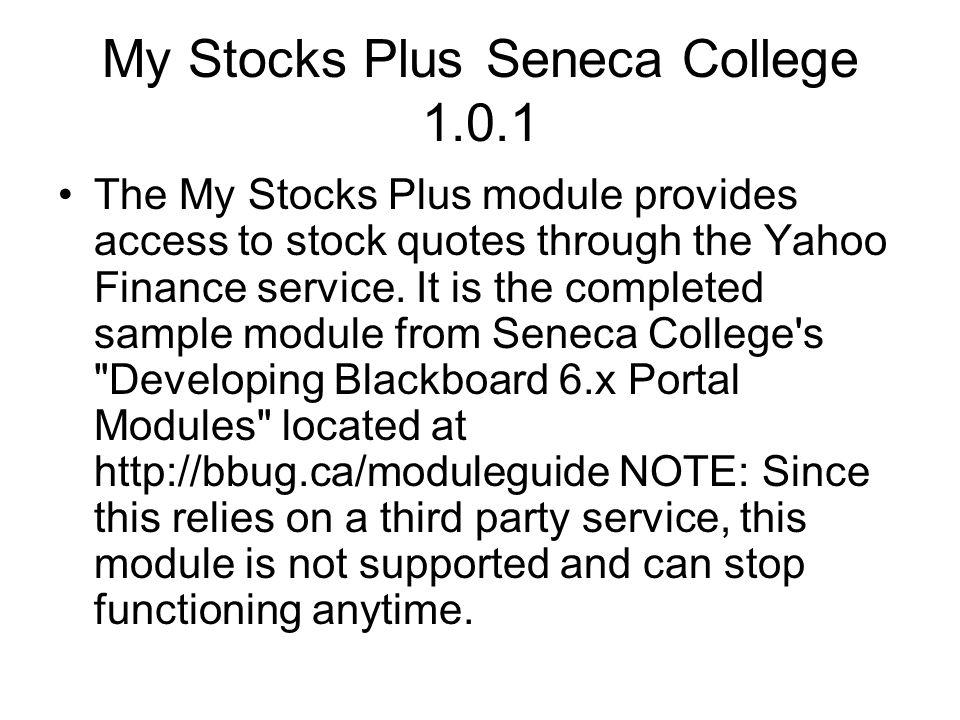 My Stocks Plus Seneca College 1.0.1