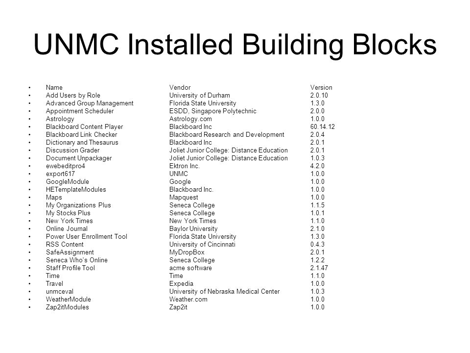 UNMC Installed Building Blocks