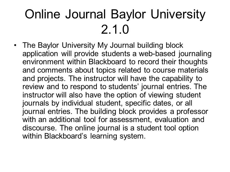 Online Journal Baylor University 2.1.0