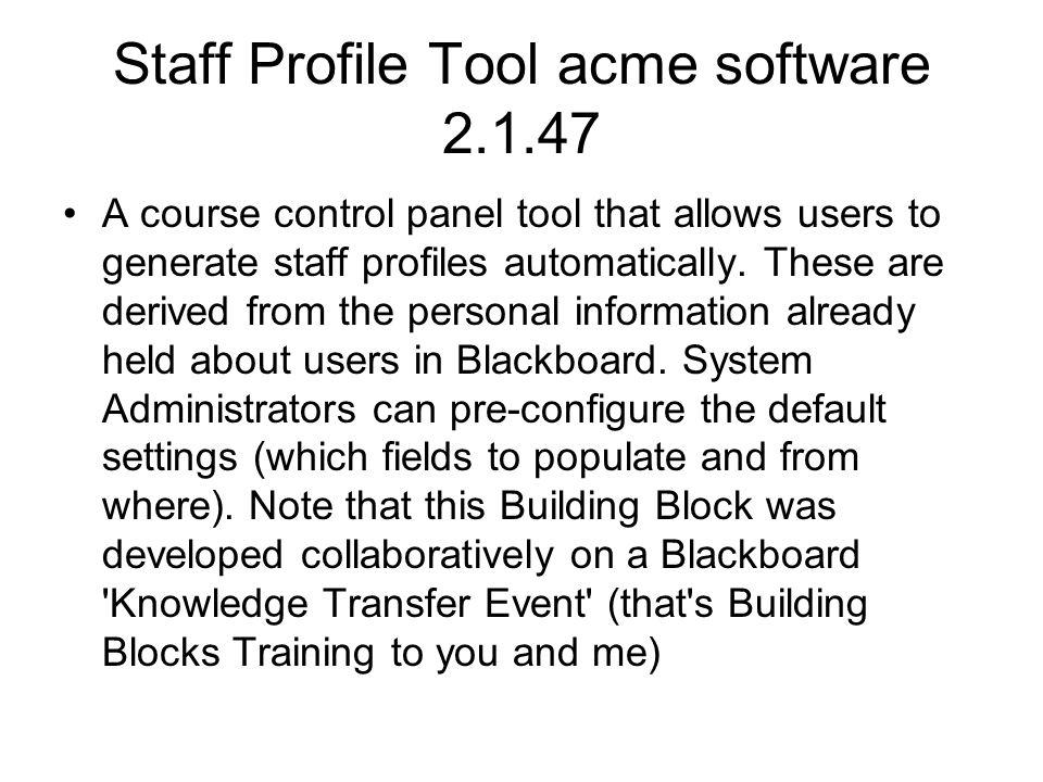 Staff Profile Tool acme software 2.1.47