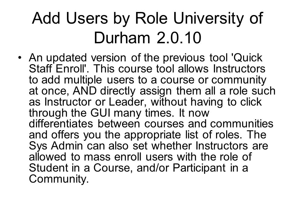 Add Users by Role University of Durham 2.0.10