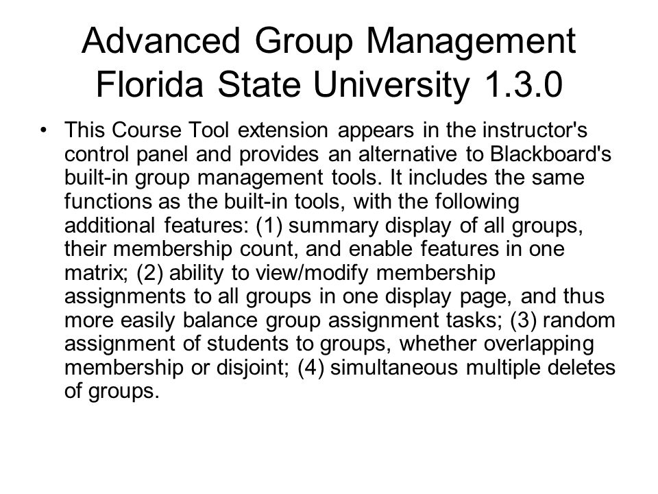 Advanced Group Management Florida State University 1.3.0