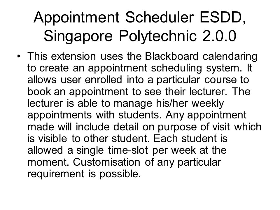 Appointment Scheduler ESDD, Singapore Polytechnic 2.0.0
