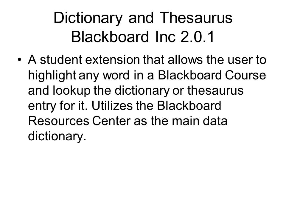 Dictionary and Thesaurus Blackboard Inc 2.0.1