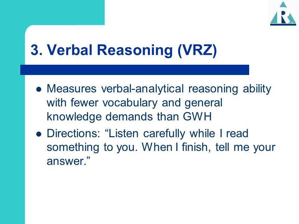 3. Verbal Reasoning (VRZ)