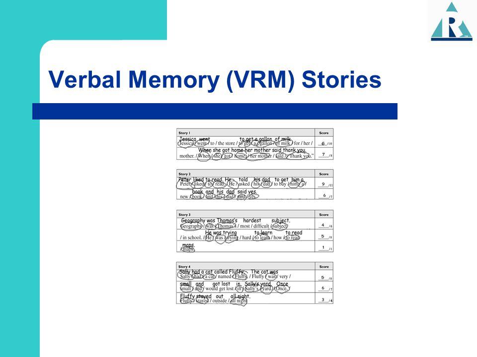 Verbal Memory (VRM) Stories