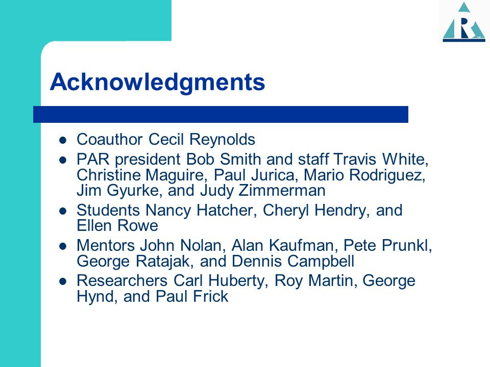 Acknowledgments Coauthor Cecil Reynolds