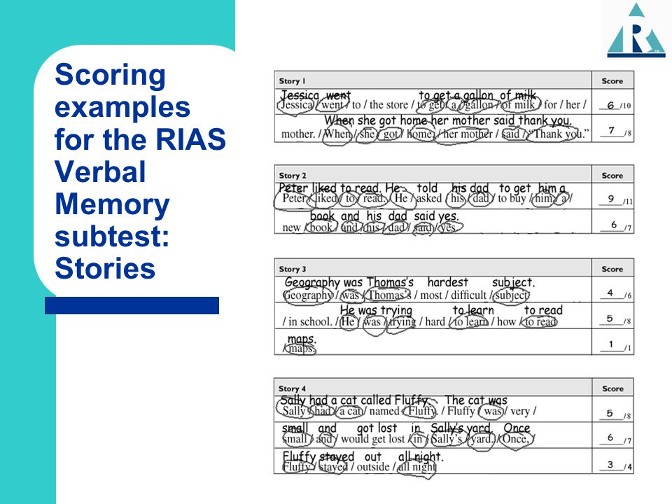 Scoring examples for the RIAS Verbal Memory subtest: Stories