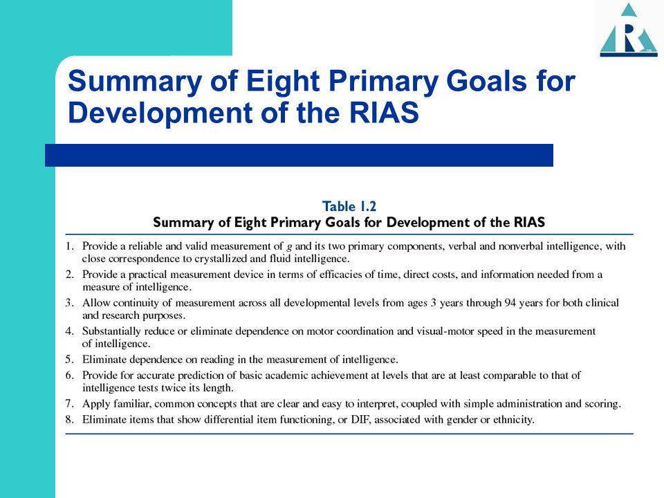 Summary of Eight Primary Goals for Development of the RIAS