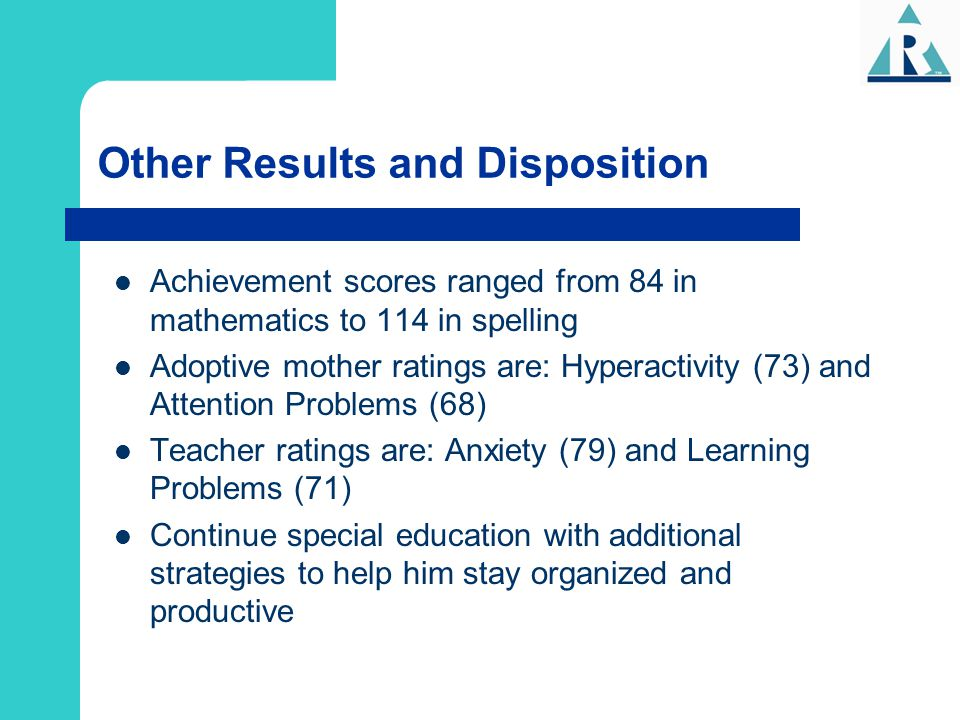 Other Results and Disposition