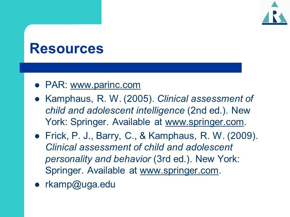 Resources PAR: www.parinc.com