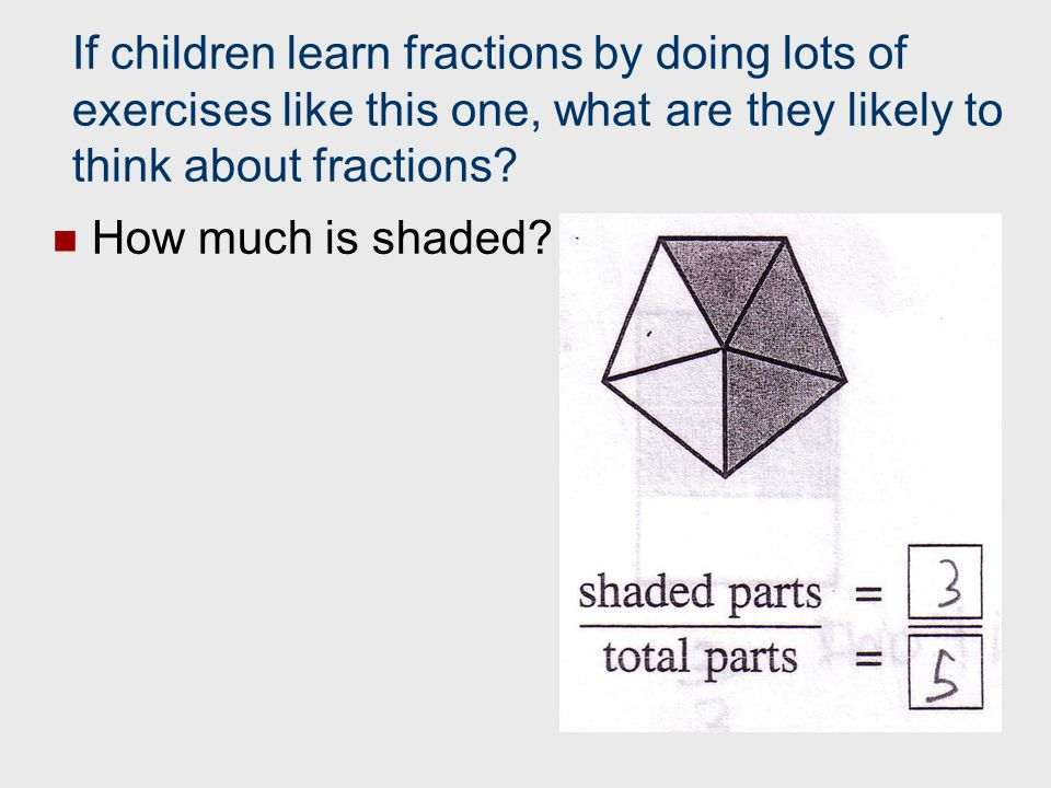 If children learn fractions by doing lots of exercises like this one, what are they likely to think about fractions