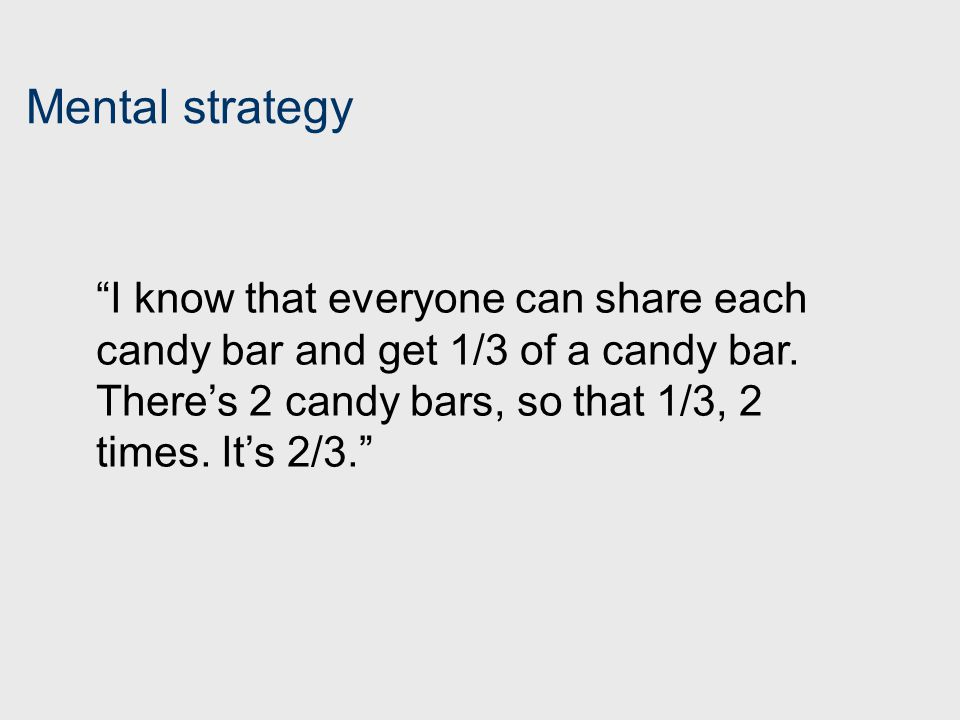 Mental strategy I know that everyone can share each candy bar and get 1/3 of a candy bar.