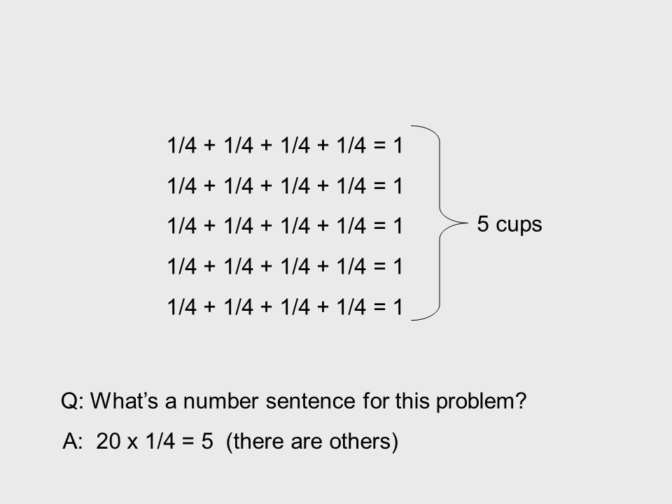 1/4 + 1/4 + 1/4 + 1/4 = 1 5 cups. Q: What's a number sentence for this problem.