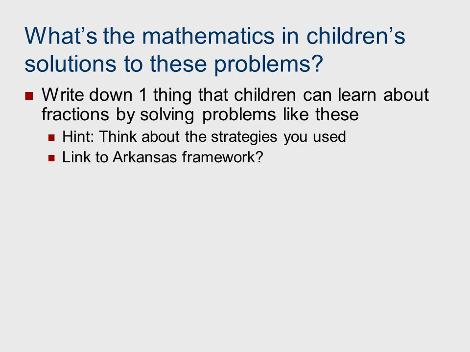 What's the mathematics in children's solutions to these problems
