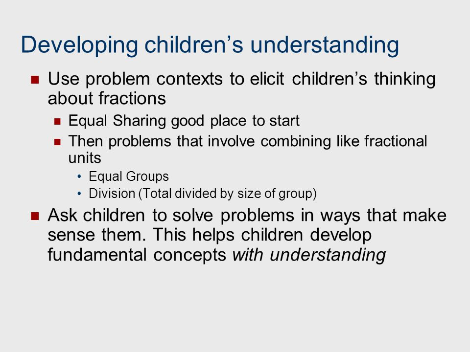 Developing children's understanding