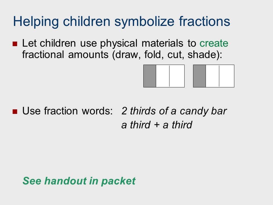 Helping children symbolize fractions