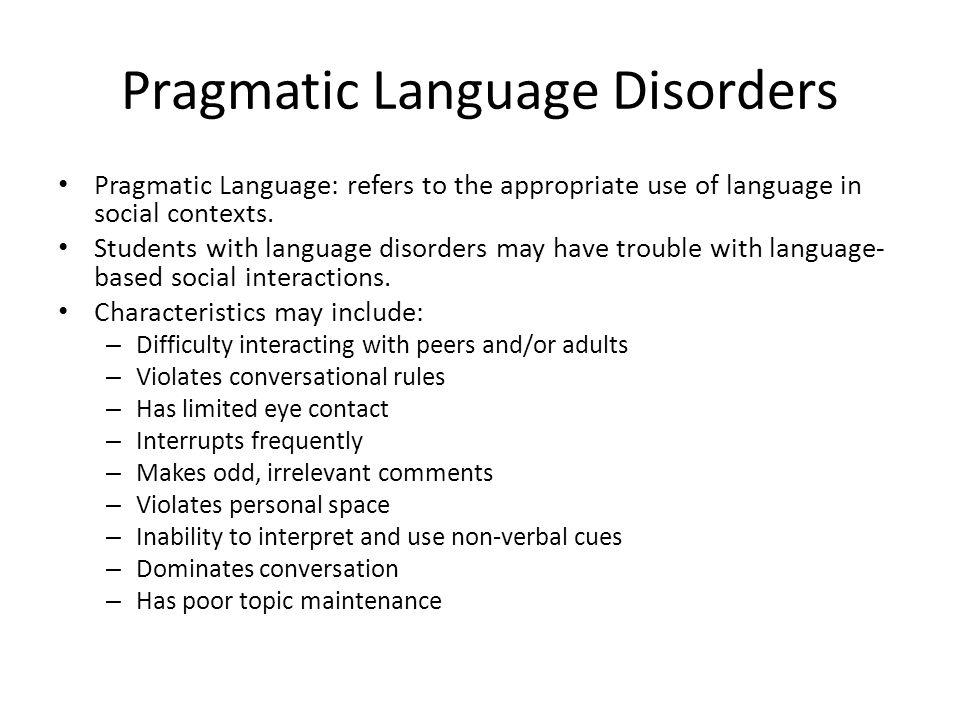 Pragmatic Language Disorders