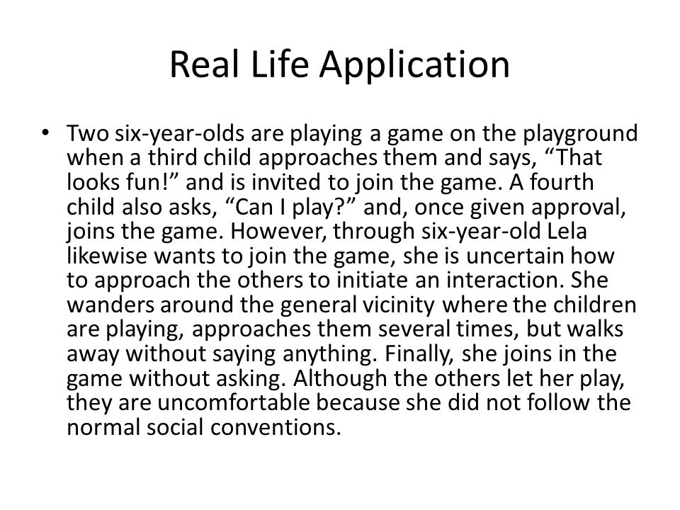 Real Life Application