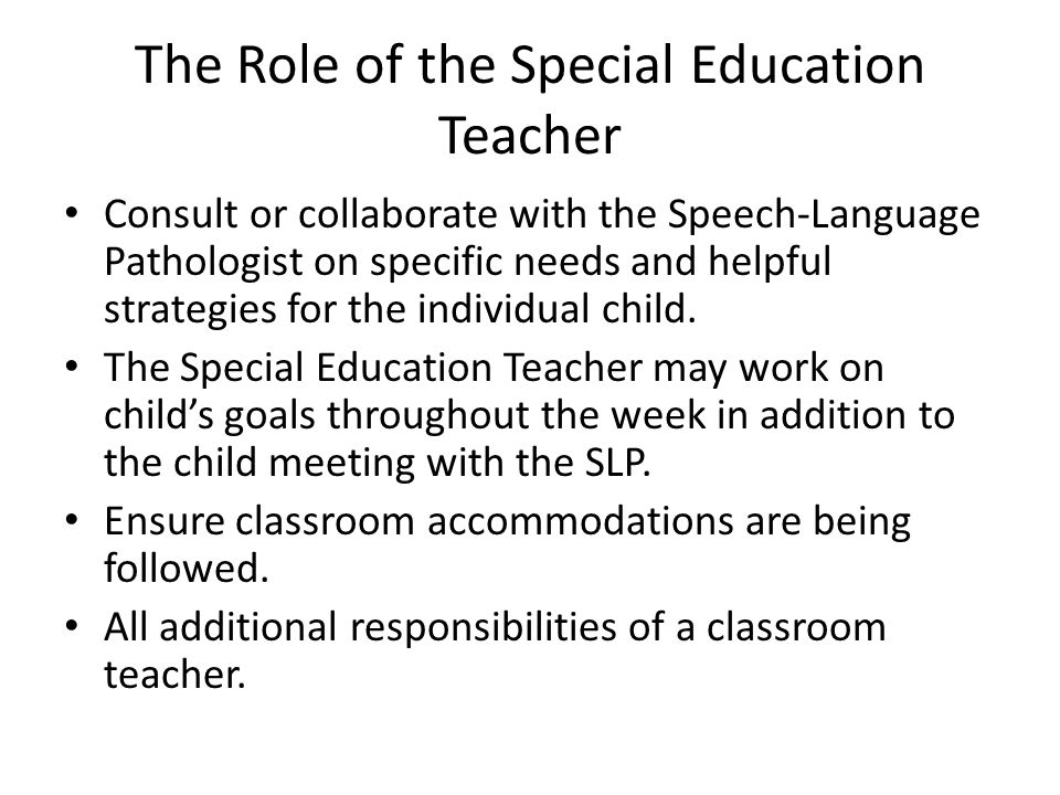 The Role of the Special Education Teacher