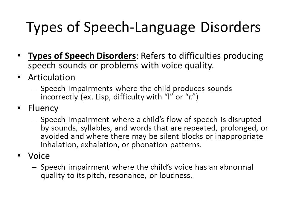Types of Speech-Language Disorders