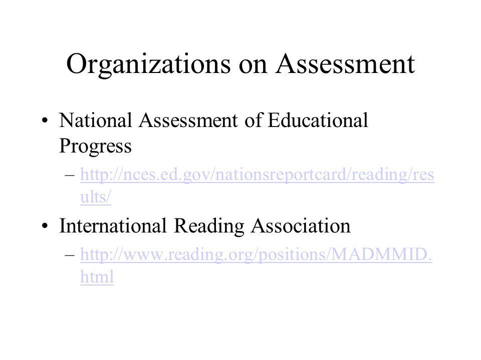 Organizations on Assessment