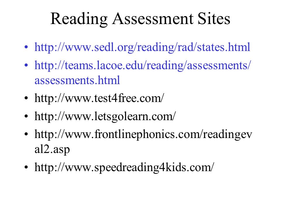 Reading Assessment Sites