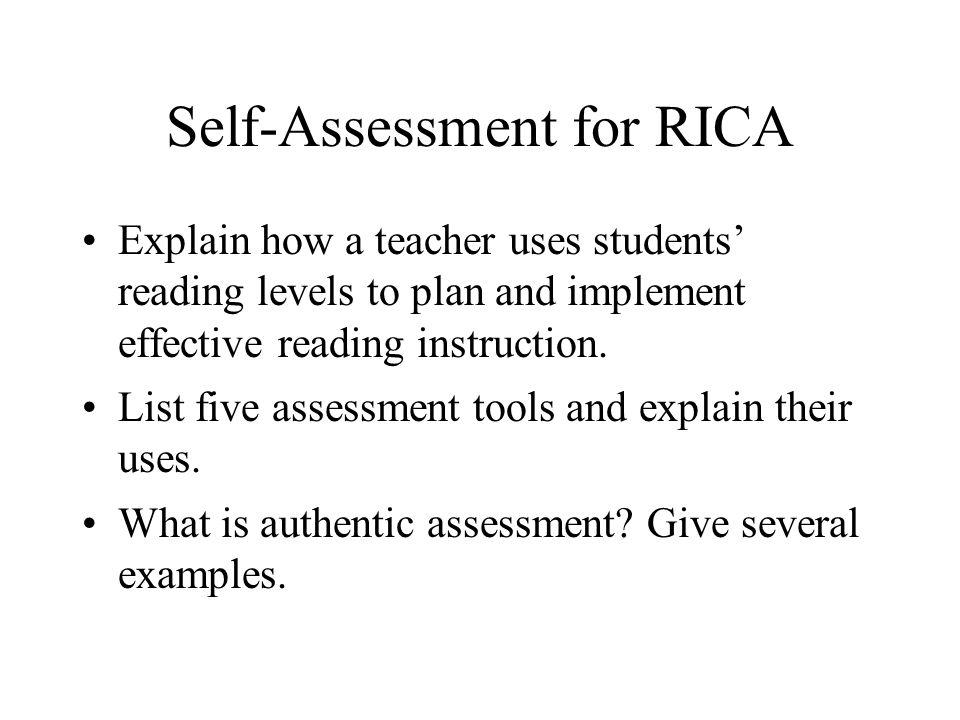 Self-Assessment for RICA