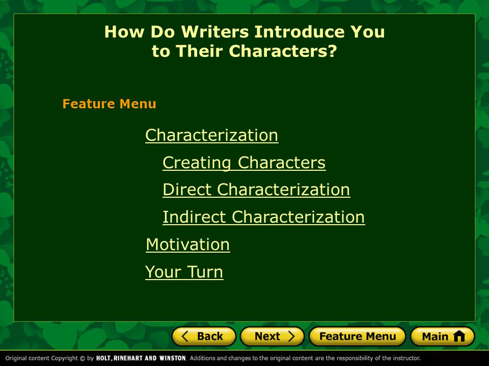 How Do Writers Introduce You to Their Characters