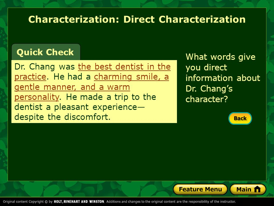 Characterization: Direct Characterization