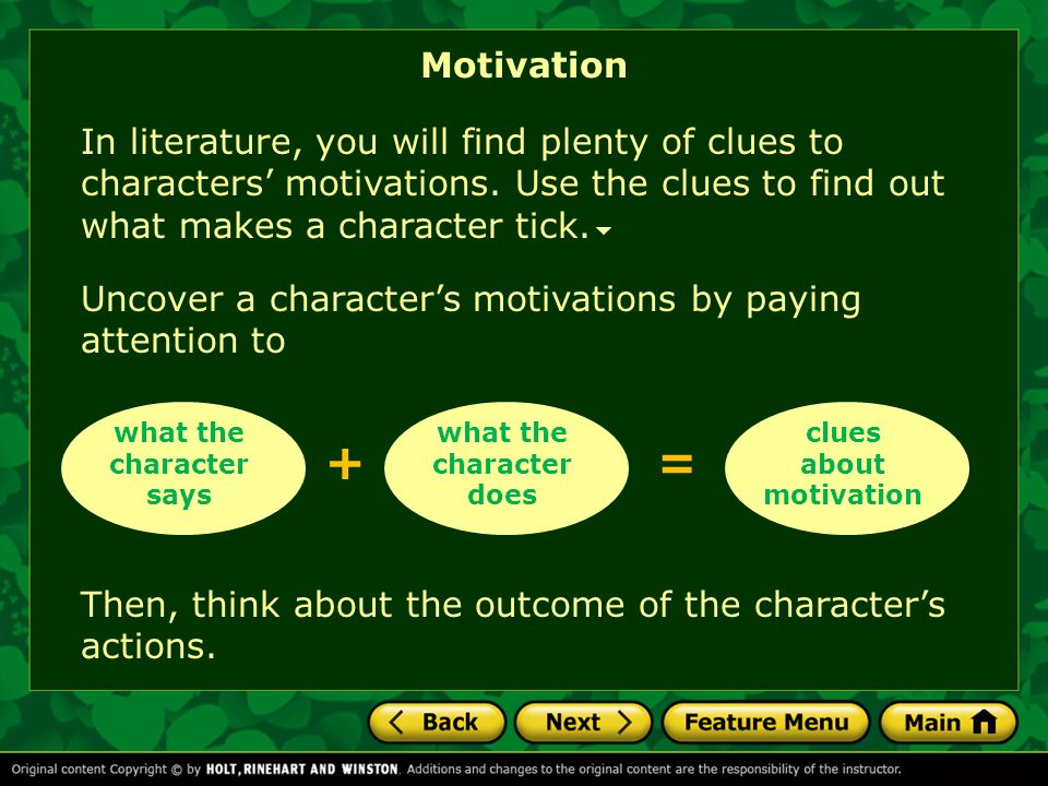 what the character says what the character does clues about motivation