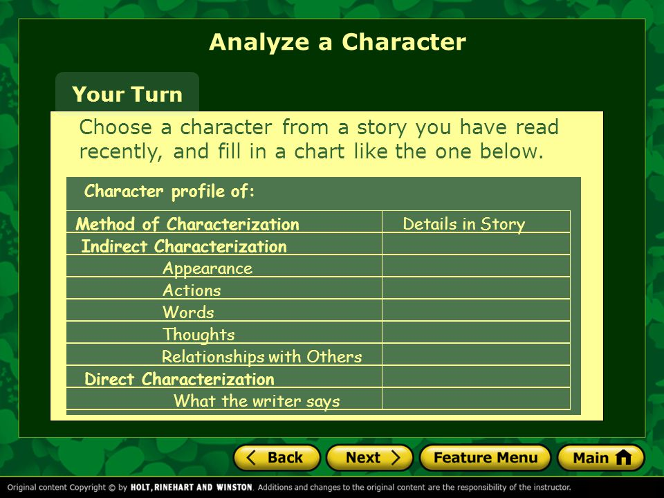 Analyze a Character Your Turn