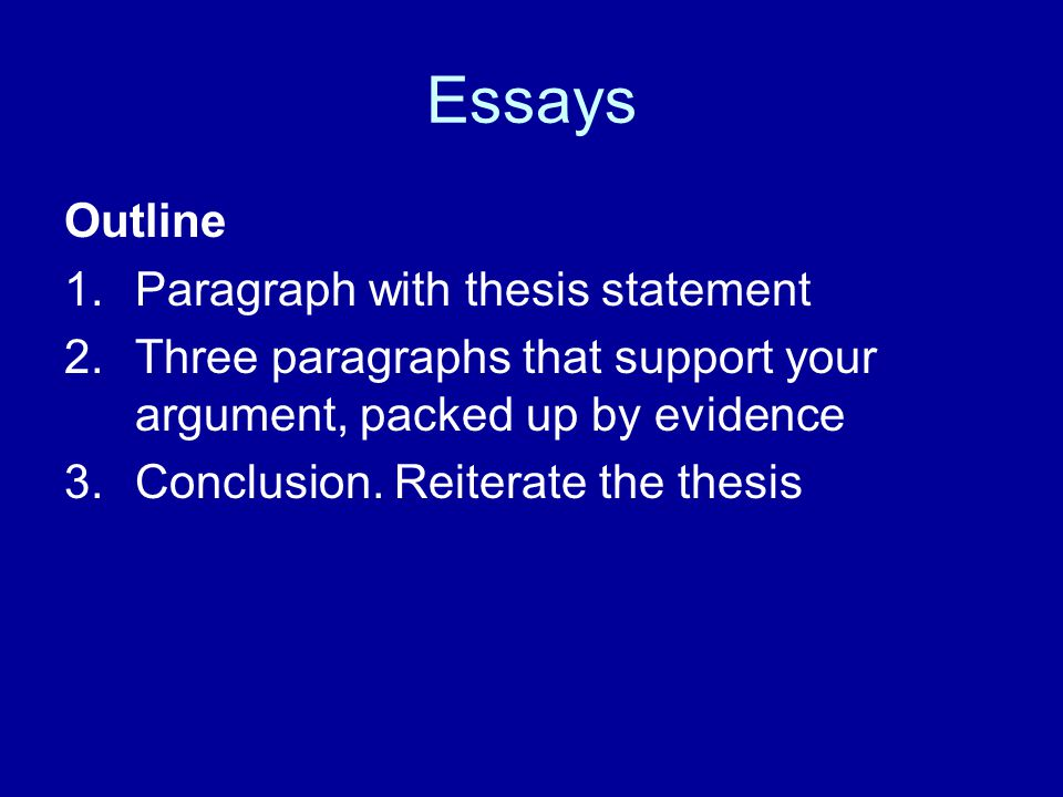 Essays Outline Paragraph with thesis statement