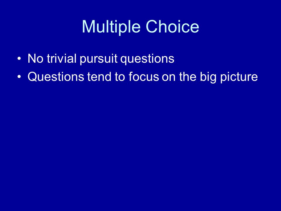 Multiple Choice No trivial pursuit questions