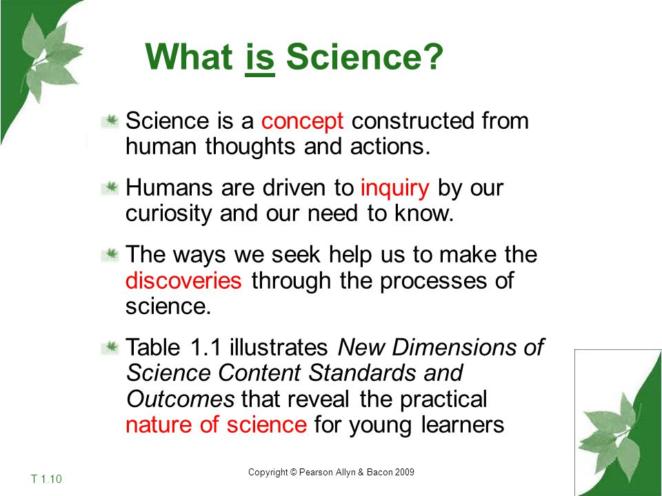 What is Science Science is a concept constructed from human thoughts and actions.