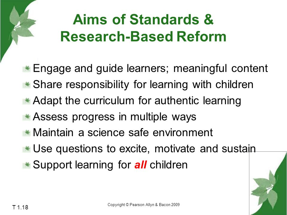 Aims of Standards & Research-Based Reform