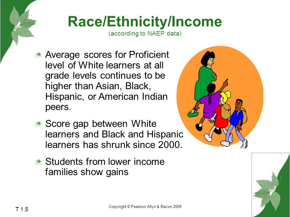Race/Ethnicity/Income (according to NAEP data)